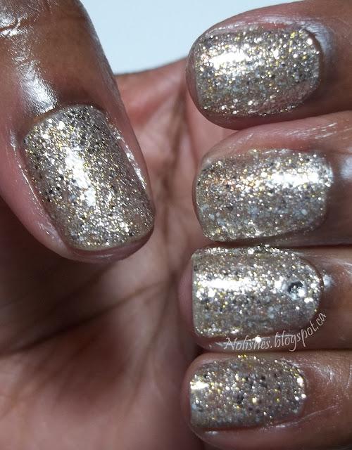 Extra sparkly glitter polish manicure using Orly's 'Halo'
