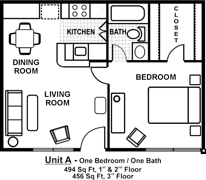 One bedroom floor plans bedroom furniture high resolution for One bedroom apartment layout