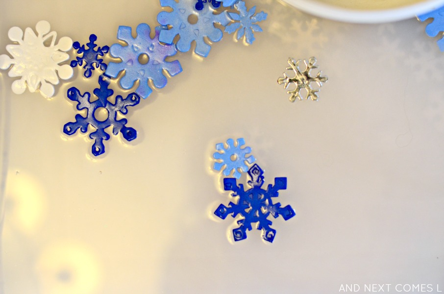 Close up of scented snowflake sensory soup for toddlers and preschoolers from And Next Comes L