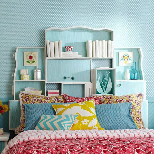 Design Your Bedroom Simple With Headboard Made From Dresser Drawers Pictures