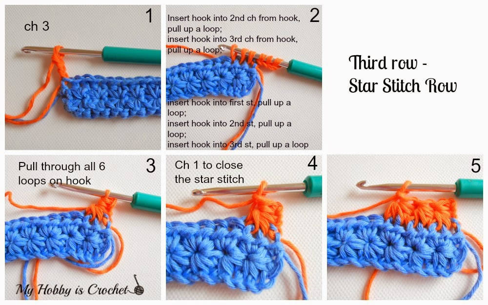 My hobby is crochet crochet star stitch variation star stitch end with a dc worked into the same ch as the last loops of the last star not into ch2 because that will produce gaps on the side turn dt1010fo