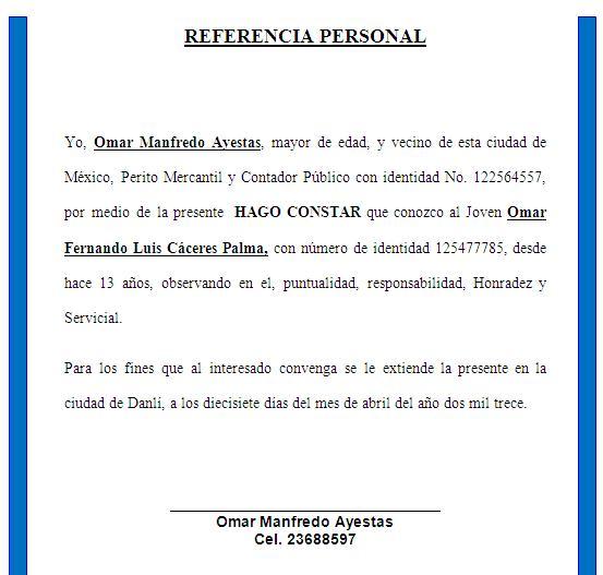 ejemplo de una referencia personal referencias personales formato de referencias personales una referencia personal