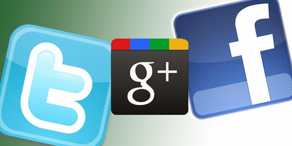 Facebook google+ et Twitter