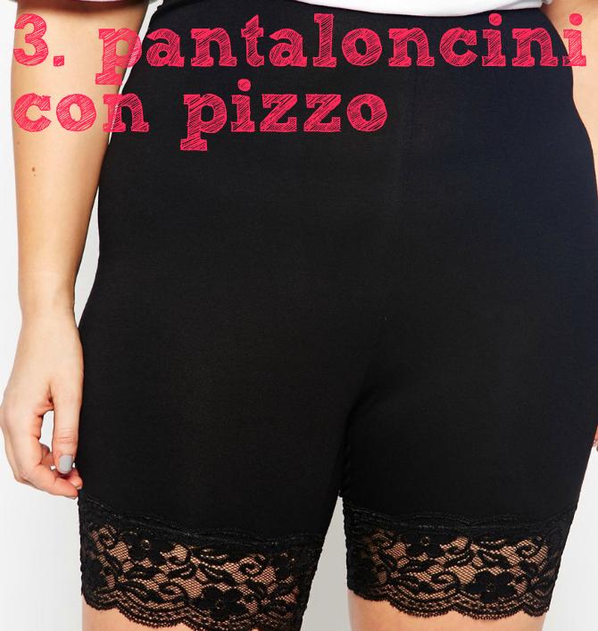 pantaloncini con fondo in pizzo