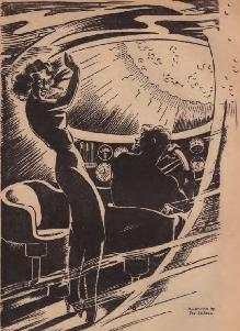Illustration by Jay Jackson, accompanying the original publication in Amazing Stories, of short story Escape through Space by Ross Rocklynne. Image shows the two fugitives in spaceship about to enter solar corona.