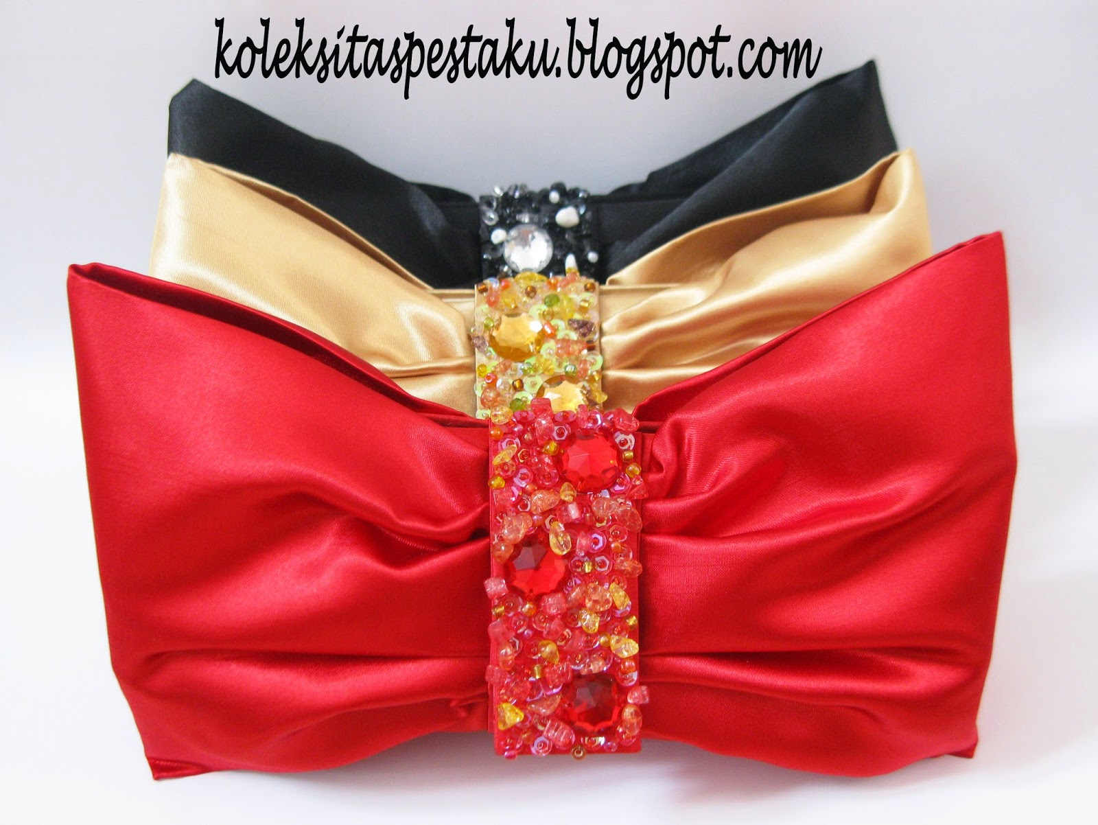 Hitam Gold Merah Clutch Bag Cantik Penuh Warna Tas Pesta Ku