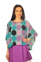 Bluza din voal cu buline mov D2128 (Ama Fashion)
