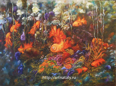 9 Gold Fishes Original oil painting in handmade