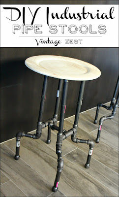 DIY Vintage Industrial Pipe Stools, shared by Vintage Zest at www.The-Chicken-Chick.com