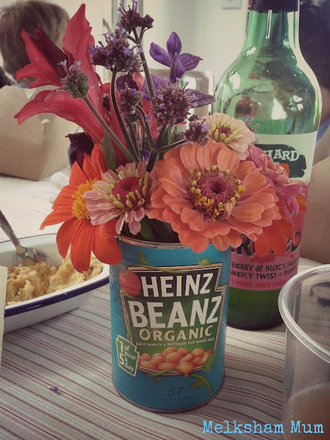 Yeo Valley flowers in a bean can!