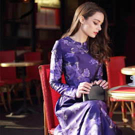 New 2016 Elegant Long Sleeve Silky Oriental Collar Purple Floral Print Flare Maxi
