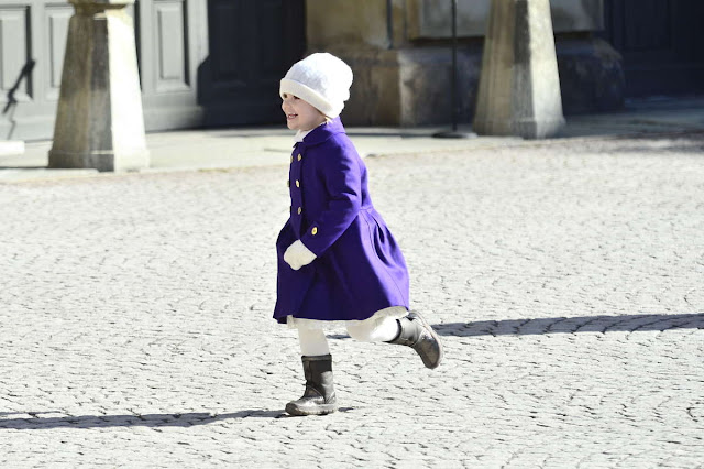 Crown Princess Victoria of Sweden and her daughter Princess Estelle attended festivities to celebrate the Crown Princess' name day