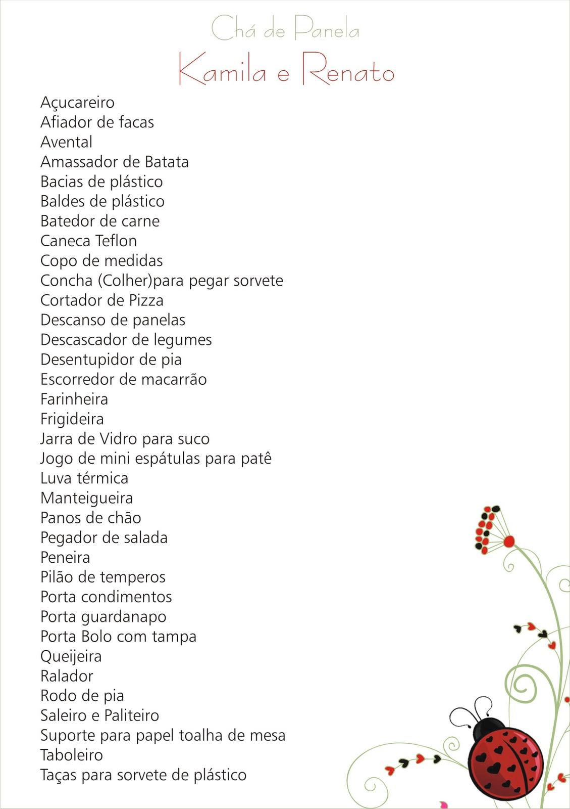 Conhecido Lista De Ch De Panela Simples E Barato Ji61 Ivango