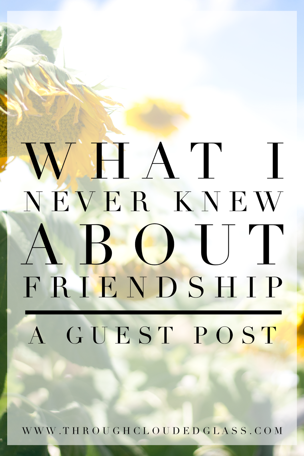 What I Never Knew About Friendship | Through Clouded Glass