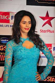 Mallika Sherawat in Long Blue Brao Gown at Big Star Entertainment Awards 2014