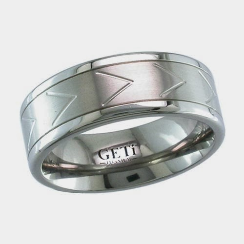 Chevron Wedding Ring in Titanium