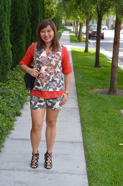 Fashion Over 40, OC Blogger, Pattern Mixing, Rebecca Minkoff Quilted Affair, J Crew Polynesian Floral