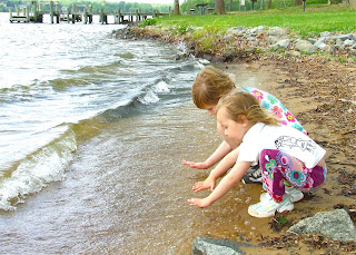 Sierra and Harmony look for shells at Lake Anna State Park