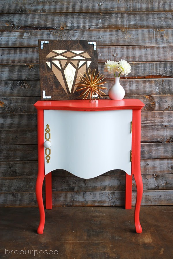 10 COLORFUL Before and After Features : Coral & White SideTable.