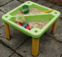 A sand-table full of toys.