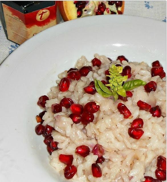 risotto di melagrana con gelatina di aceto balsamico
