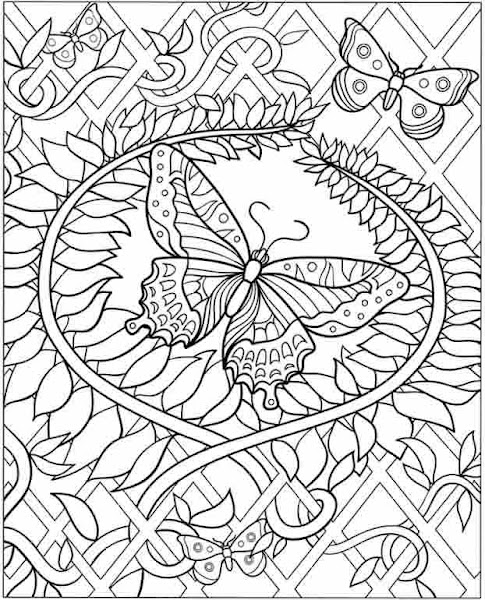 Hard Butterfly Coloring Pages Adult