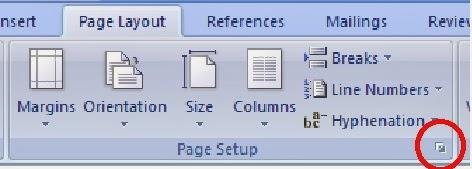 langkah membuka kotak dialog page setup