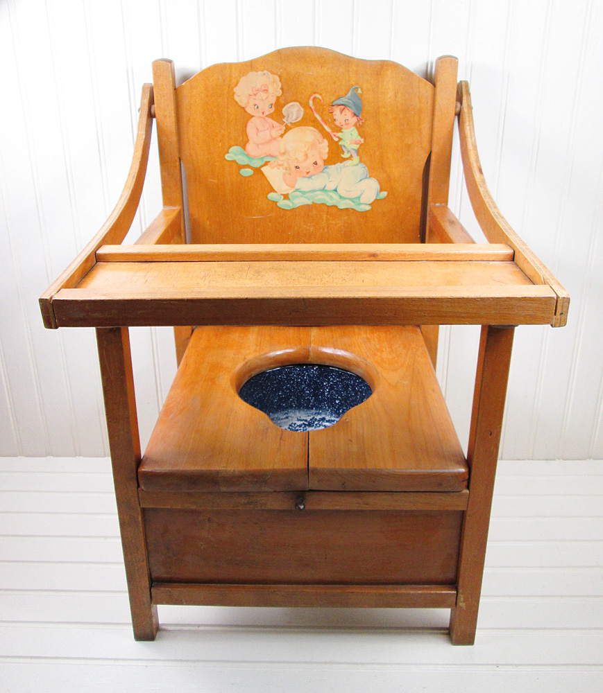 Antique potty chair value - Antique Potty Chair Vintage Wooden Potty Chair With Decal