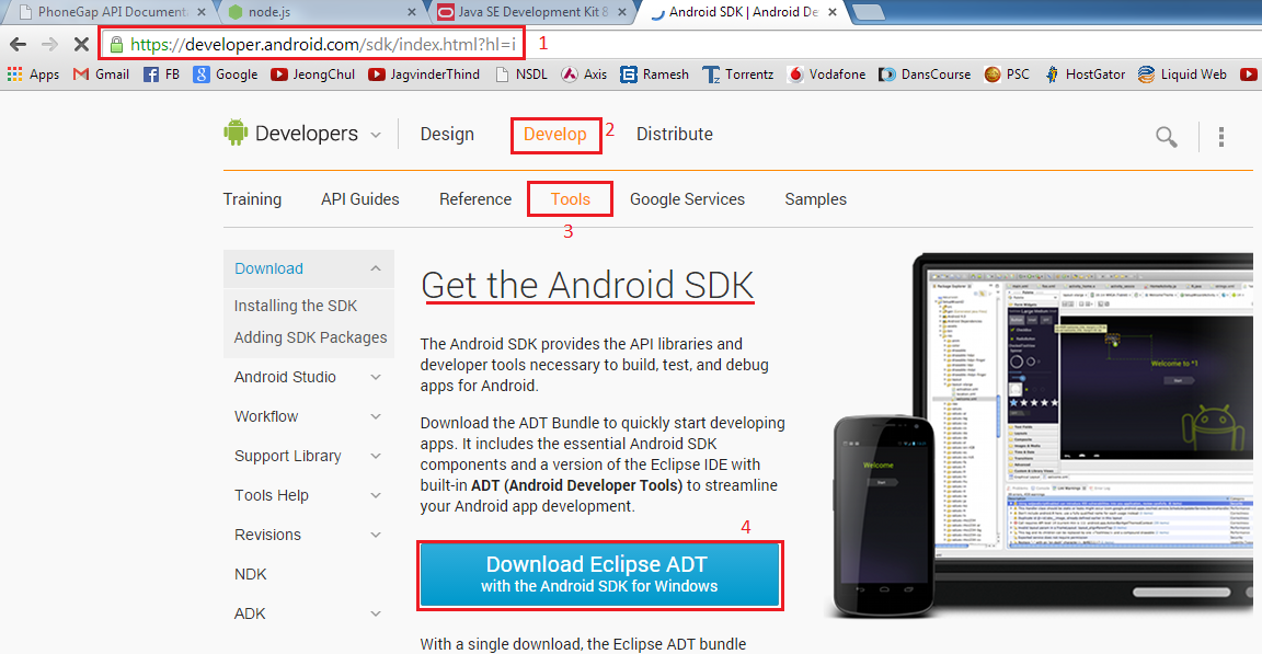 android adt bundle  for windows 8