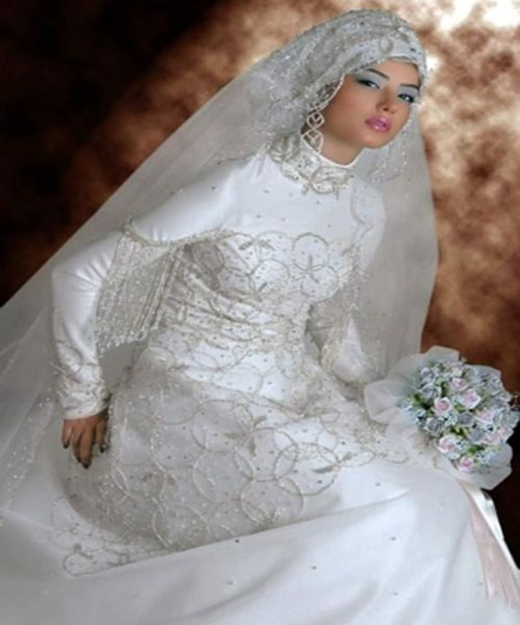 model baju pengantin jilbab dengan desain terkini dengan jilbab