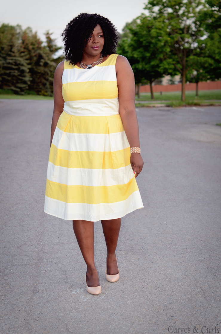 Yellow striped dress #Eshakti plus size yellow and white stripes dress. #plussize #fashion #curves #psblogger #ootd