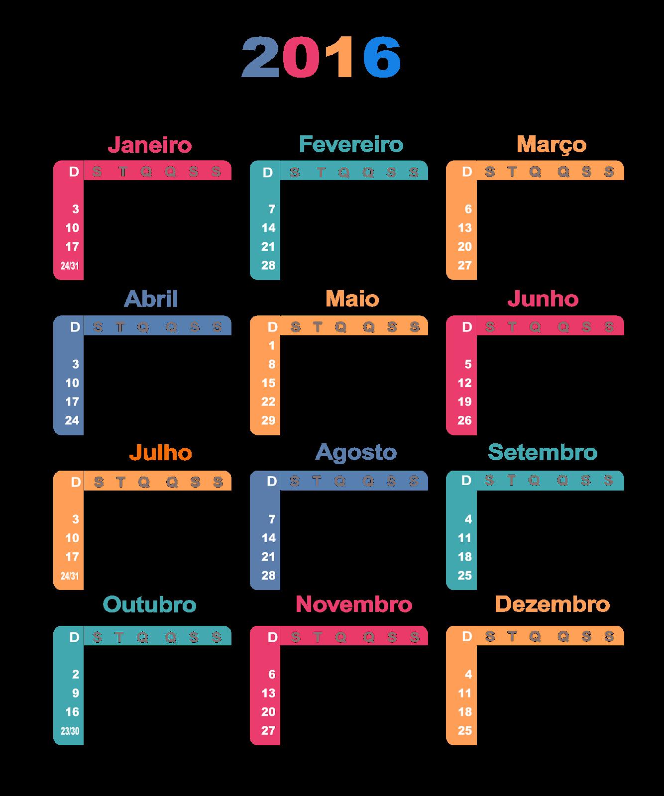 Calendario 2016 Calendar