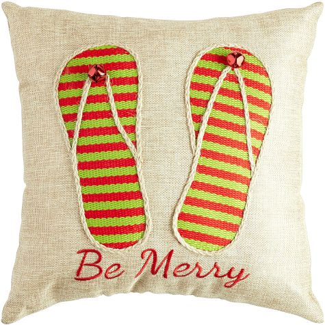 Be Merry Flip Flop Christmas Pillow