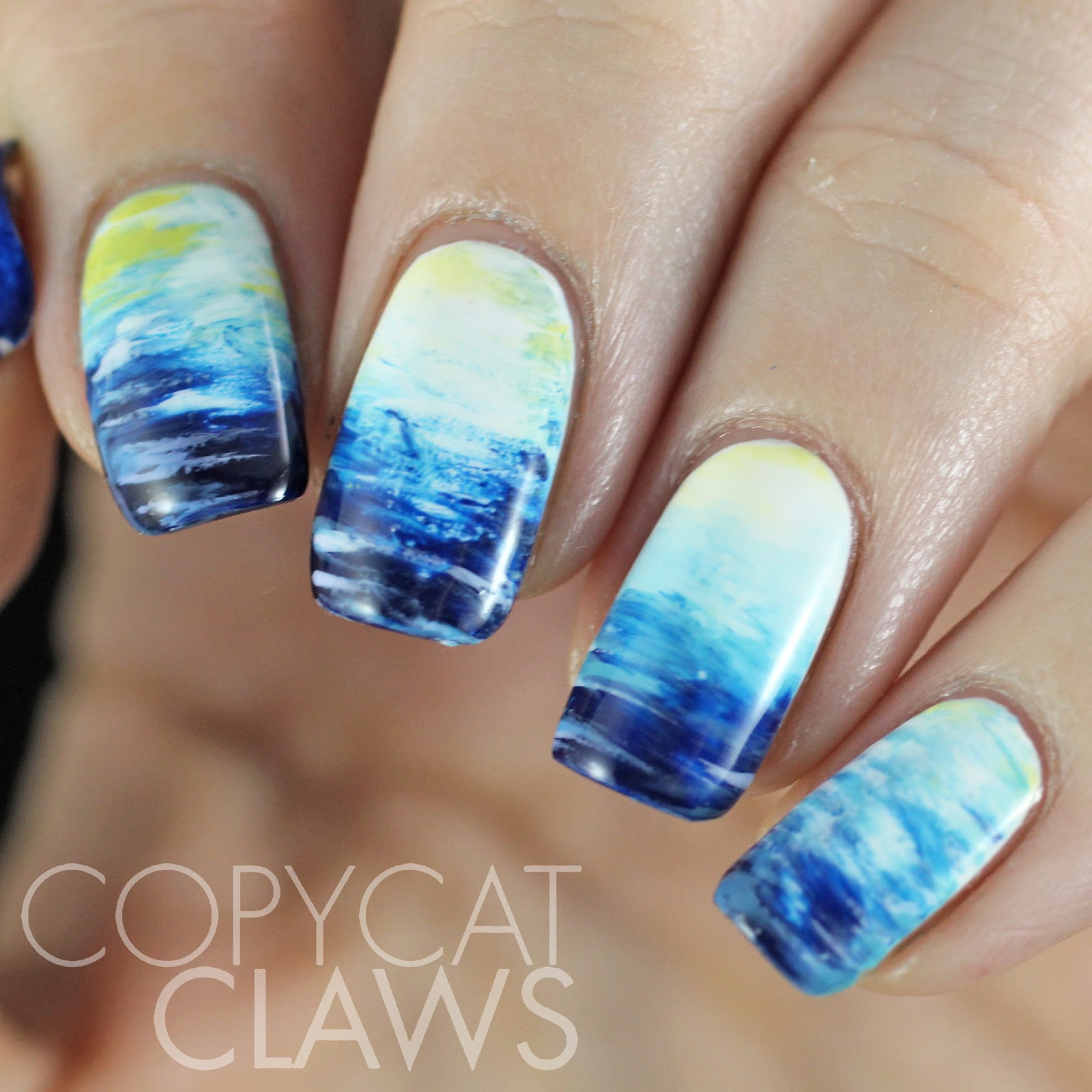 Copycat Claws Blue Color Block Nail Art: Copycat Claws: The Digit-al Dozen Does Nature: Day 3 Fan