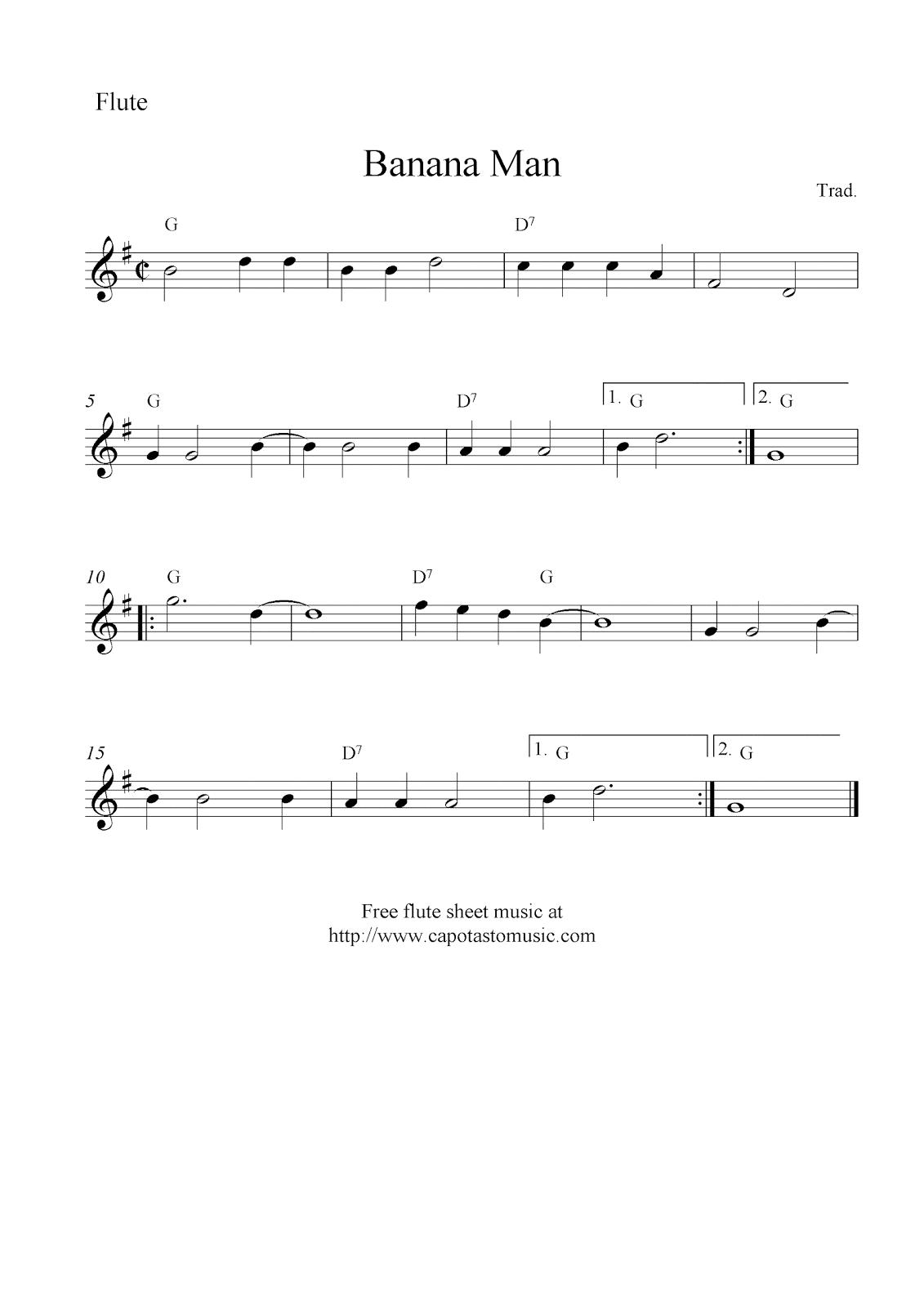 Banana man free flute sheet music notes