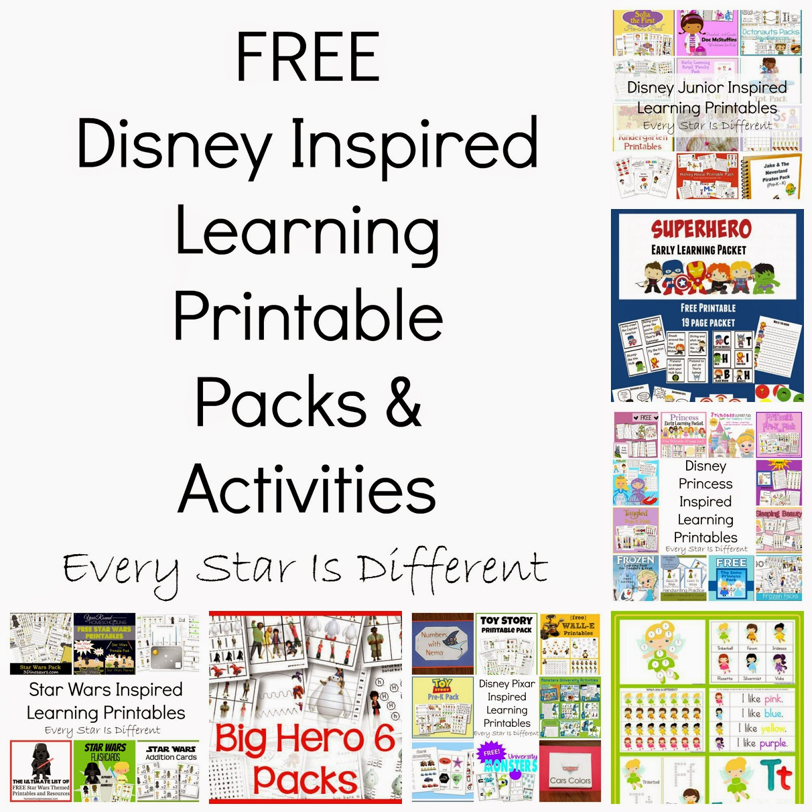 FREE Disney Inspired Learning Printable Packs & Activities - Every ...