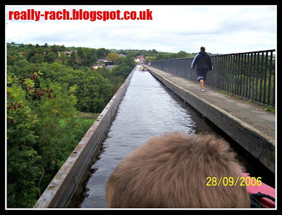 Really Rachel Scared daddy walking the Pontcysyllte Aqueduct on the Llangollen Canal