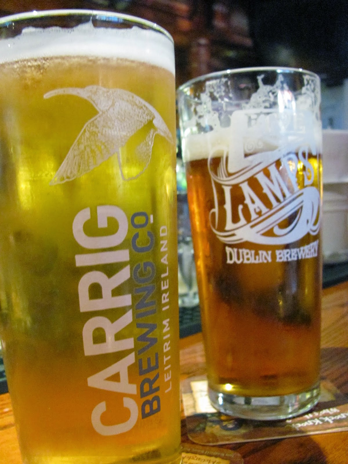 Carrig Lager and 5 Lamps Pale Ale