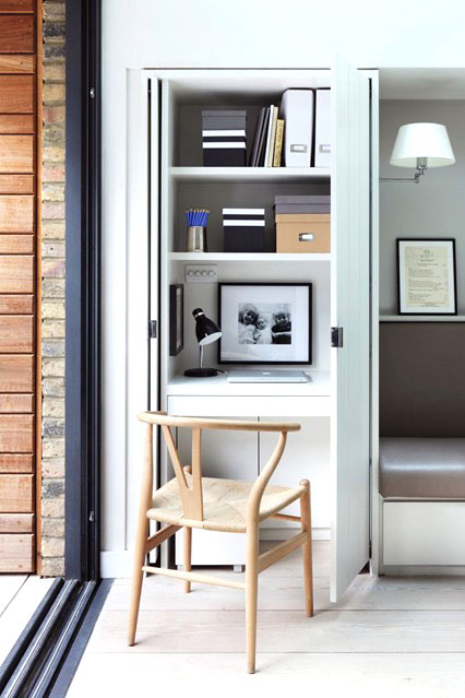 Tiny home office with wishbone chair