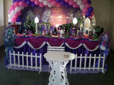 Monster High - mesa com a decoração de festa de aniversário