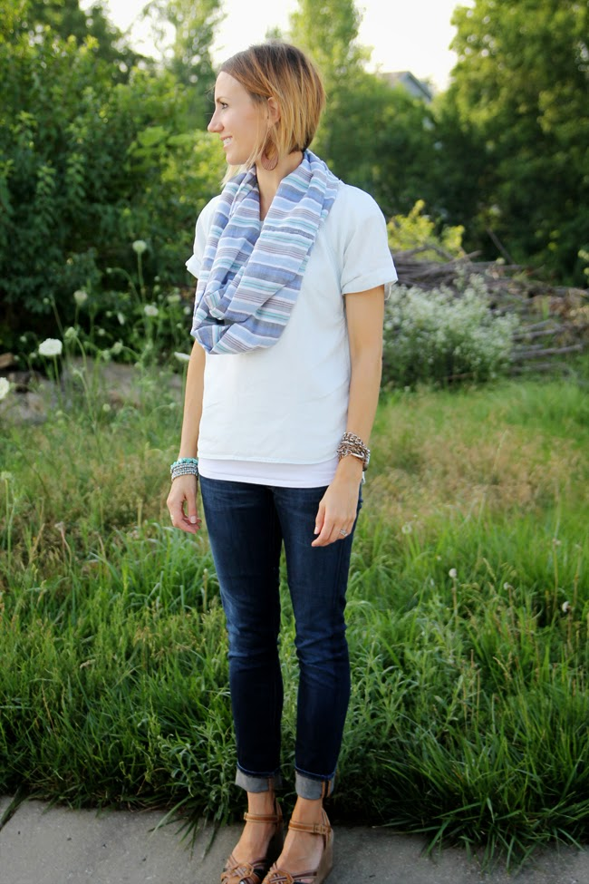 Striped Mexican print scarf, chambray shirt and dark denim