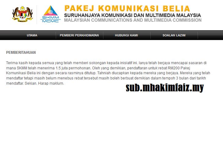 Permohonan Rebat RM200 Telefon Pintar 3G Ditamatkan