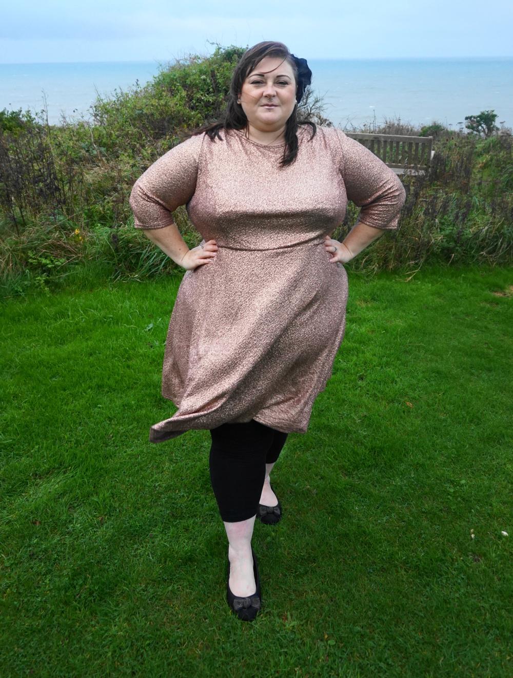 Outfit   Metallic rose gold dress - Love Leah