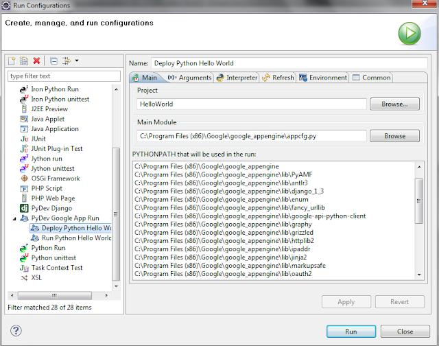 Google App Engine Eclipse Deploy configuration
