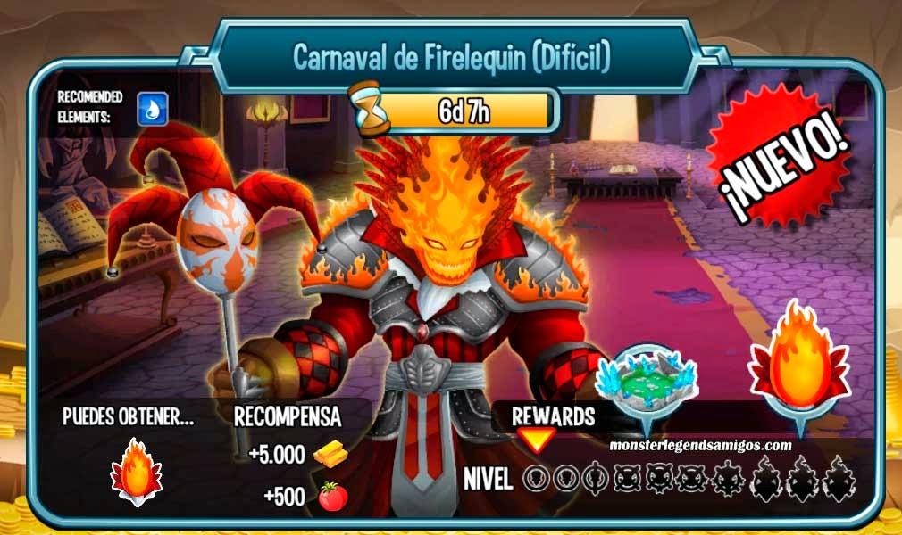 imagen de las batallas de la mazmorra carnaval de firelequin de monster legends