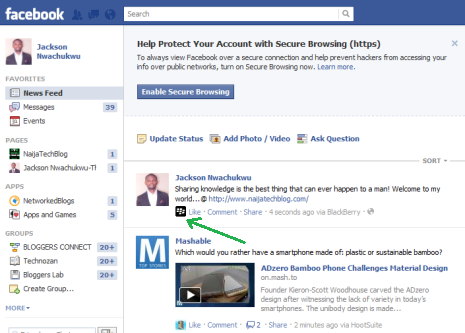 Trick To Update Your Facebook Status Via Any Device : BlackBerry