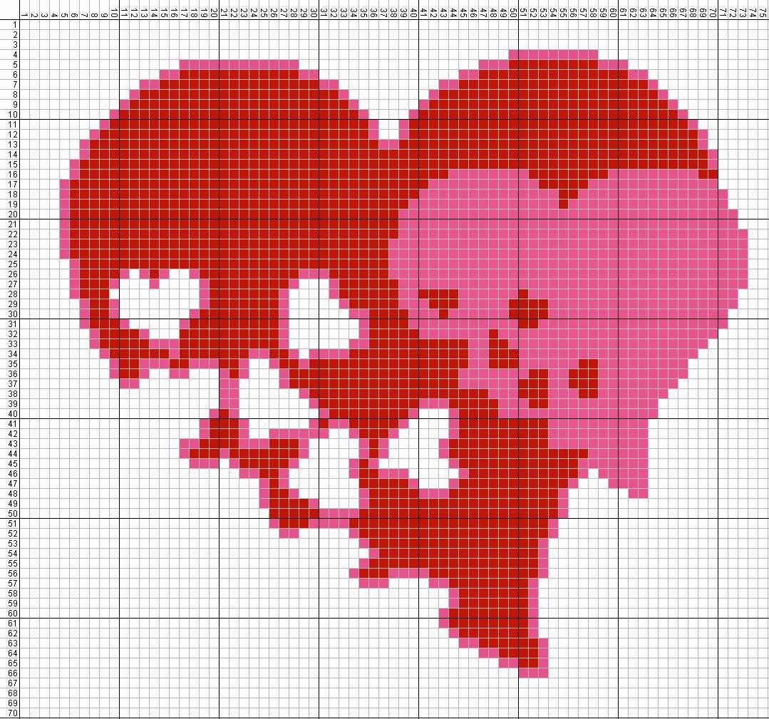 Gambar Pola Kristik Sederhana Tanda Cinta - Hati (2)