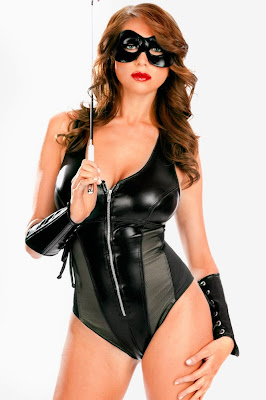 Sexy Leather Teddy Playsuit and Leather Gauntlet Gloves