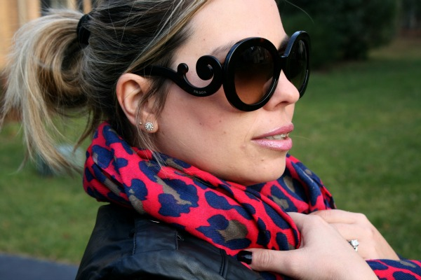 South Moon Under Bright Leopard Print Infinity Loop Scarf and Prada Baroque Round Sunglasses
