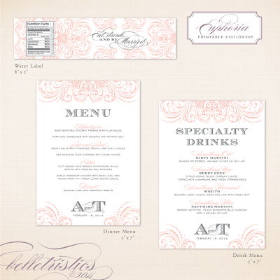 glamorous flourish printable wedding menu drink card design